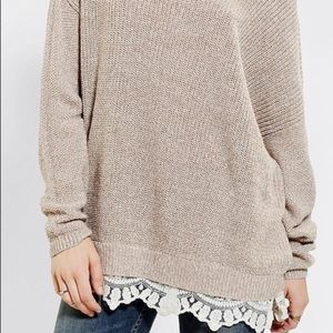 Pins and Needles Lace Sweater XS Beige